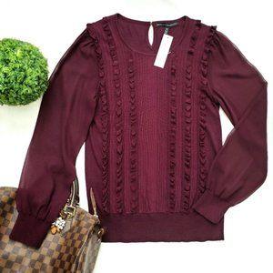 WHBM Cabernet Purple Ruffle Chiffon Sweater
